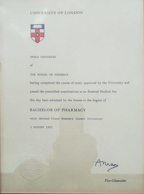 rpsgb certificate bpharm neelu chaudhari