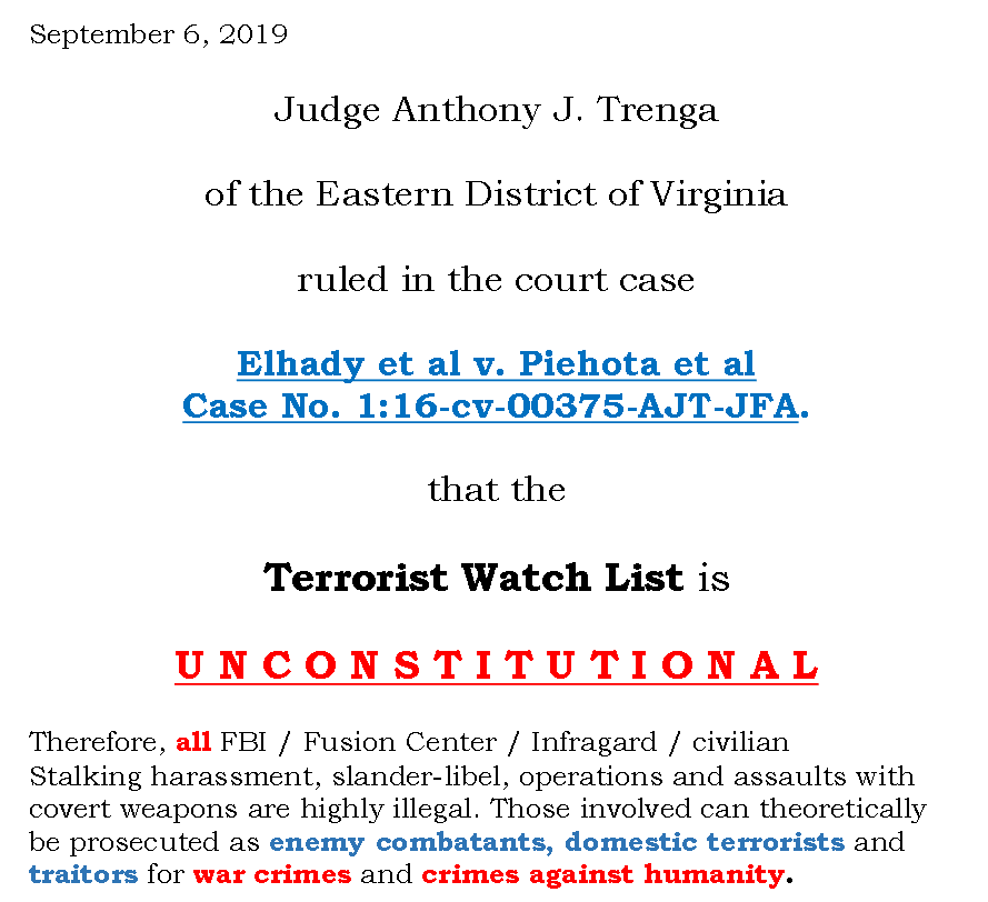 Partial Screenshot of Judge Trenga ruling 2019 Flyer Created by NSA Whistleblower Karen Melton-Stewart