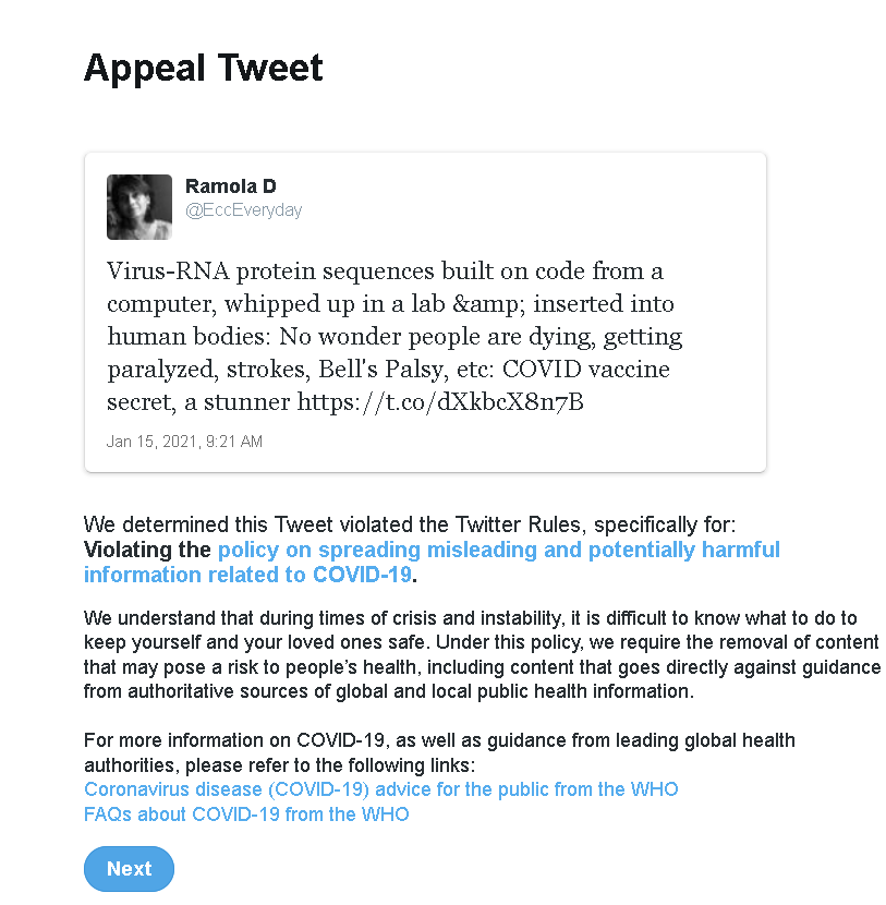 Youtube and Twitter Remove Videos, Tweets Exposing Grave Dangers of the mRNA COVID Vaccine Appealtweet