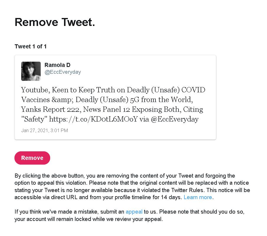 Youtube and Twitter Remove Videos, Tweets Exposing Grave Dangers of the mRNA COVID Vaccine Appealtweetreyoutubedemandforremoval
